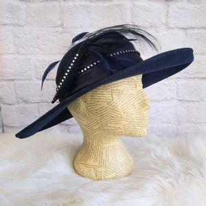 Union Made Wide Brim Navy Felt Breton Derby Hat